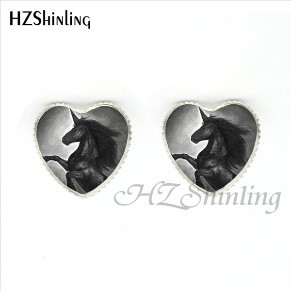HER-0025 Fantasy Unicorn Heart Earrings Handmade Unicorns Fantasy and Pegasus Photo Stud Earring Glass Dome Jewelry For Women