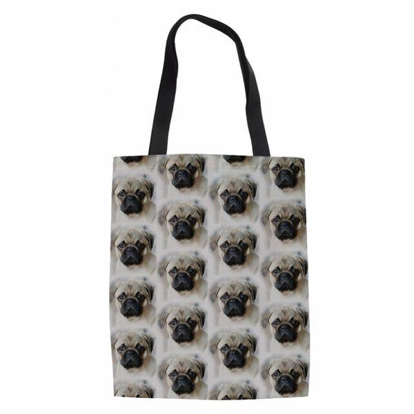 Women Heavy Duty Shopping Tote Ladies Pug Dog Printing Linen Shoudle Bag for Females Kawaii Puppy Shop Eco Bag Reusable