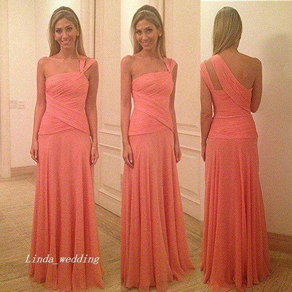 Free Shipping Isabella Narchi vestidos coral largos One-Shoulder Sleeveless Sweep Brush Train Chiffon Long Evening Dresses