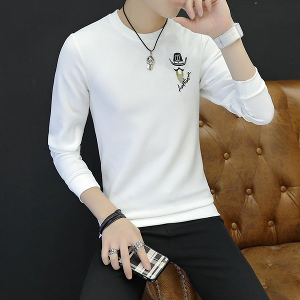 Mens White Black Shirts Long Sleeve Down Clearance Crew Neck Casual T Shirts For Men High Collar Big And Tall Large Size