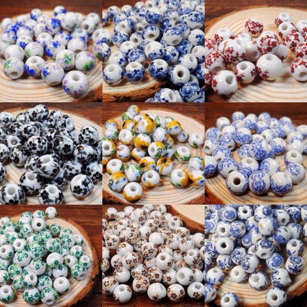 XINYAO 50 teile / los 10mm Große Große Loch Keramik Perlen Blume Blau Und Weiß Porzellan Perlen Handgemachte DIY Schmuck Machen Zubehör