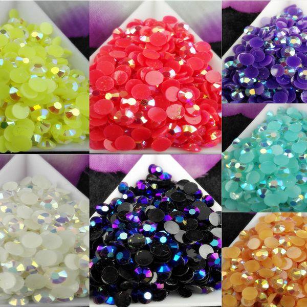 top popular 2500pcs bag SS20 5mm 7 Color Jelly AB Resin Crystal Rhinestones FlatBack Super Glitter Nail Art Strass Wedding Decoration Beads Non HotFix 1 2021