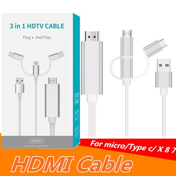 3 IN 1 HDTV CableMicro /Type C / X 8 7 to HDMI HDTV TV Adapter USB Cable 1080P for samsung s8 note 8 S7 S5 S4 HDMI Cable with retail box