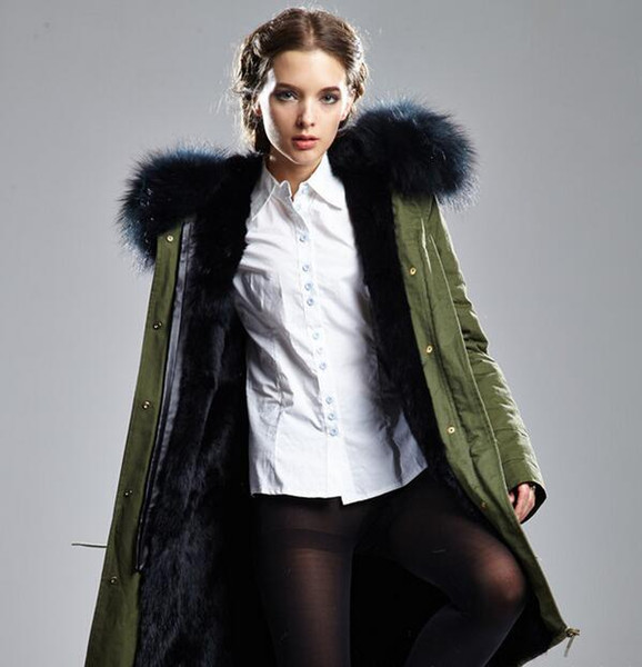 Meifeng brand Black raccoon fur trim women warm jackets with ykk zipper black rabbit fur lining army green Military canvas long parkas