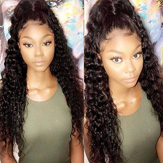 100% Brazilian Human Hair 360 Lace Frontal Wigs With Baby Hair Deep Wave Curly Pre Plucked Lace Front Wig For Black Women 150%