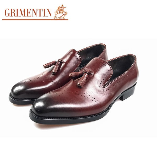 GRIMENTIN Italian fashion tassel men loafers genuine leather comfortable luxurious carved party male shoes Italian wedding mens dress shoes