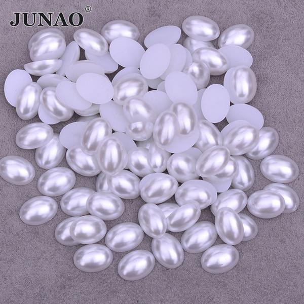 JUNAO 10 * 14mm 13 * 18mm Forma Oval Branco Pérolas Beads Meia Pérola Natator Flatback Cabochão Pedras Scrapbook Beads Para Jóias roupas