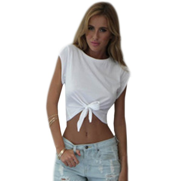 5a97cdf49cd Women T-Shirt Tie Front Short SleeveO-neck T shirt Bow Loose Casual Short