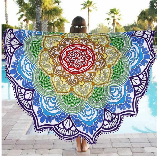 Roundie Yoga Feuille indienne Mandala Round Roundie Plage Throw Tapestry Hippy Boho Gypsy coton Table de pique-nique couverture jardin Throw 033