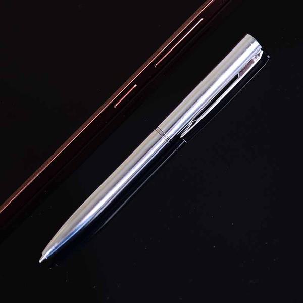 1 pc de Metal Caneta Esferográfica de Rotação de Bolso-tamanho Caneta Ponto De Bola Portátil Suprimentos Escolares de Tinta Preta