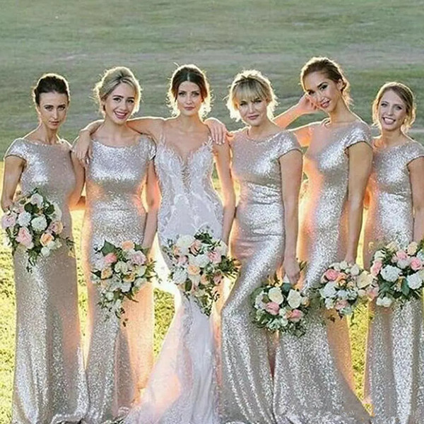 Sliver Sequins Bridesmaid Dresses Short Sleeve Crew Neckline Mermaid Rose Gold Sequins Bridesmaid Dress Long Maid Of Honor Dresses