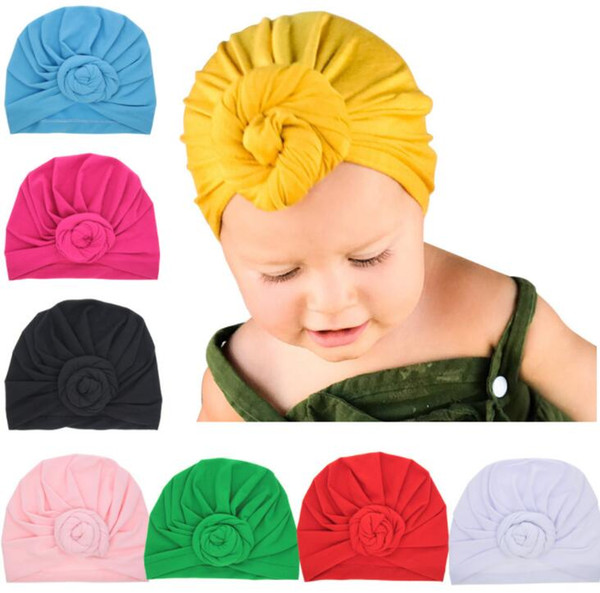 New Baby Girls Boho Hat Soft Head Wrap Rose Flower Knot Cotton Cap Beanie hair accessories 8 colors