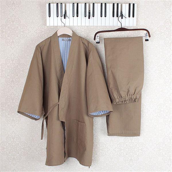 V-Neck Cotton Yukata Japanese Kimono Men Pajamas Sleepwear Mens Cotton Kimono Robe and Pants M L Size Hot Sale