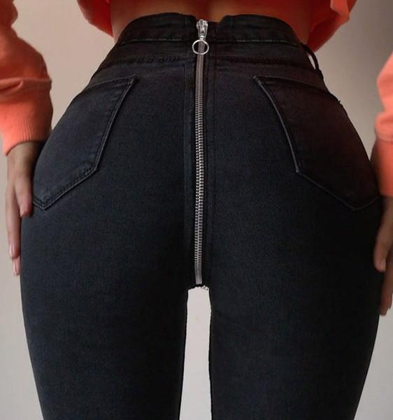 Обратно Серебряная молния высокой талией Джинсы для женщин узкие джинсы женщина сексуальная карандаш брюки брюки Брюки Pantalon Жан женский