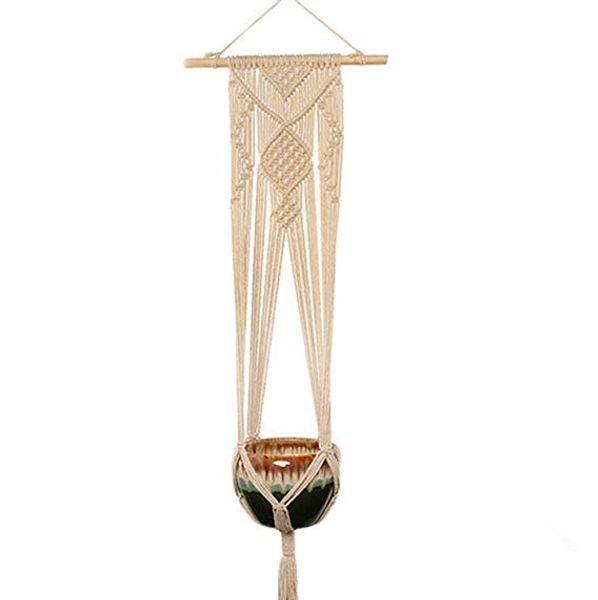Panier suspendu extérieur de planteur de suspension simple d'intérieur de jardin, placez le sac net de pot de fleurs de coton tissé par corde et coton de pot de fleurs grand et petit