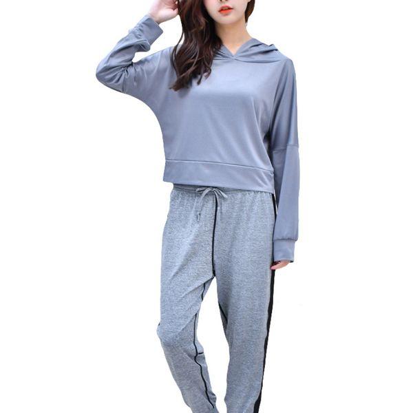 Camiseta de manga larga Top Short de mujer Yoga Fitness Ropa deportiva Hoodie Ropa Deportes Sudadera con capucha Chaqueta deportiva