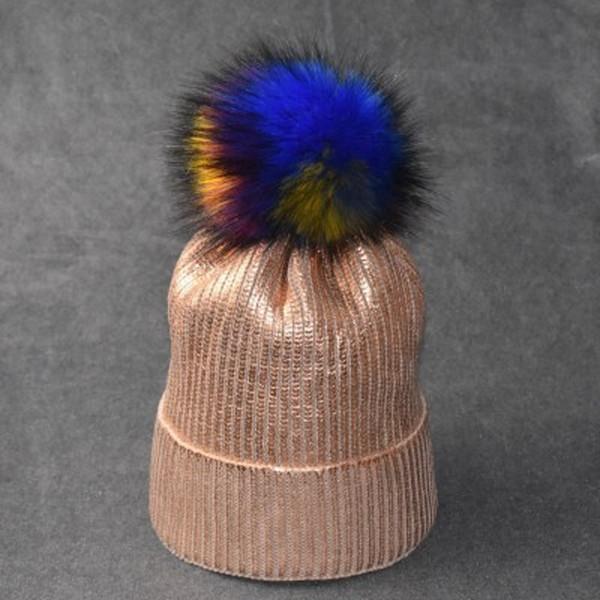 Designer Gold Stamping Gestrickte Pom Beanies Hüte für Männer Frauen Silber Stamping Skull Cap Winter Warme Mütze mit bunten Fellknäuel KOSTENLOSER Versand