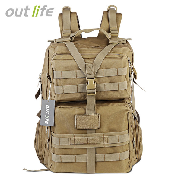 Outlife 45L Grande Capacidade Tático Molle Mochila de Acampamento Trekking Caminhadas Mochila Saco de Ombro Do Exército À Prova D 'Água