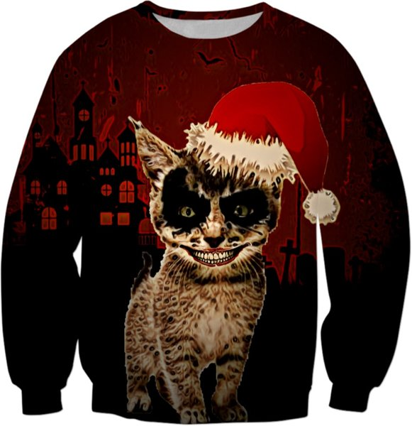 Cat Christmas Sweater.2019 Demon Cat Christmas Sweatshirt Black Cat Hat Merry Christmas Hoodies Crewneck Long Sleeve Spring Harajuku Jumper Drop Ship Tops From Pingpo
