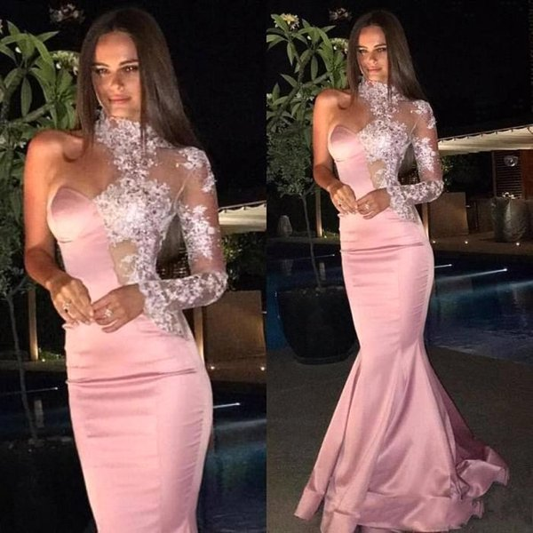 2019 Sexy Light Pink Long Prom Dresses High Neck Stretch Satin One-Shoulder Lace Long Sleeves Evening Gowns BA6638