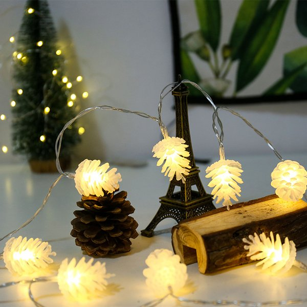 Waterproof Warm White Colorful Christmas New Year Pine Cone Holiday Light Home Decoration USB Fairy LED String Garden Yard Night Lamp 3m 6m