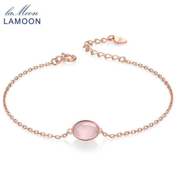 LAMOON Simple 8x6mm 100% naturale ovale rosa quarzo rosa 925 gioielli in argento sterling S925 braccialetto di fascino LMHI023
