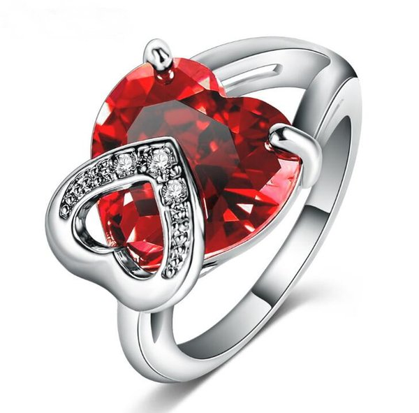 Fashion Lady Micro Inlay Diamond Red Heart Crystal Copper 18k Gold Plated Engagement Wedding Prong Setting Rings Gift 3 Color Size6-9