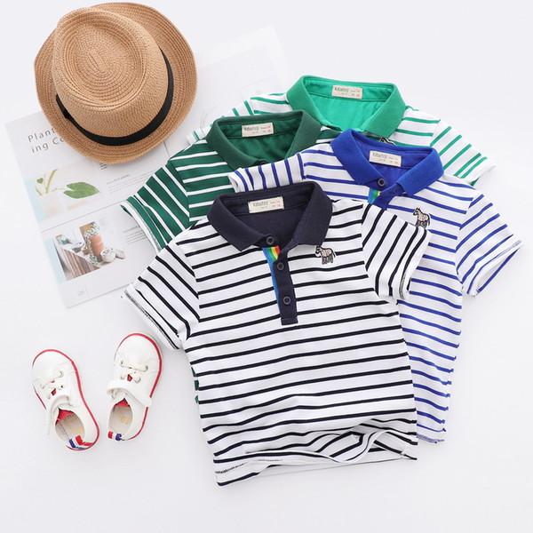 top popular boys polo t shirt 2018 NEW style summer Kids Cotton short Sleeve All-match cartoon animal embroidery stripe polo t shirt boy summer t shirt 2020