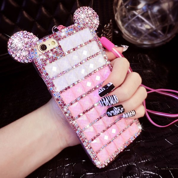 Handmade Bling Diamond Case For iphone 7+Women 3D Mouse Crystal Rhinestone Cases Cover for iPhone 5 5s 6 6s 6 Plus 7 7 8 Plus