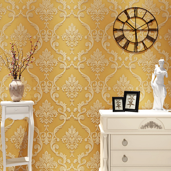 3d Embossed Non Woven Damask Wall Paper Modern European Style Living Room Bedroom Tv Background Home Wall Decoration Wallpaper Photos And Wallpapers