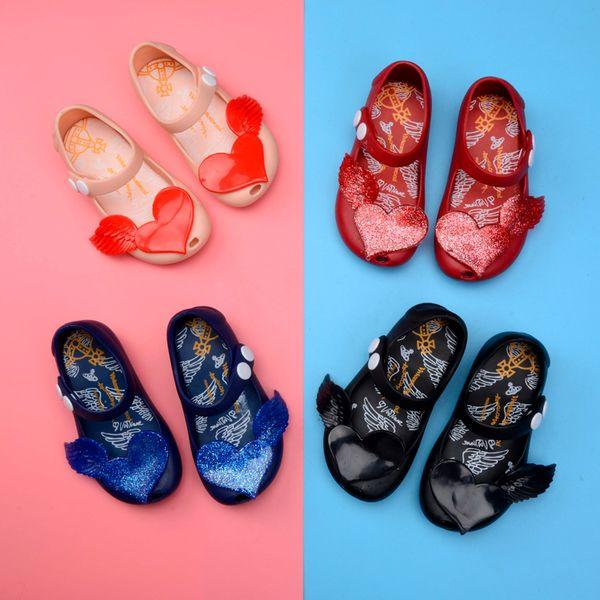 Мелисса Новые мини-сандалии для девочек Love Heart Узел туфли Кристаллические желе Сандалии Детская обувь Обувь на голове рыбы