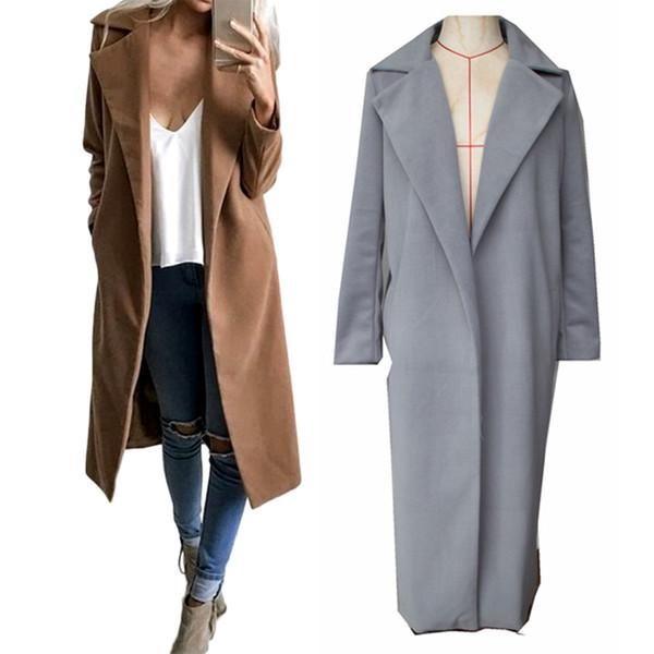 Winter Jackets 2018 Women Wool Blend Coat Wide Lapel Pocket Oversize Long Trench Coat Outerwear Wool Female Women Overcoat