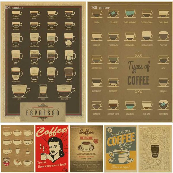 Coffee Beer Wine collection bars kitchen drawings posters adornment, vintage poster, wall stickers,decorative painting