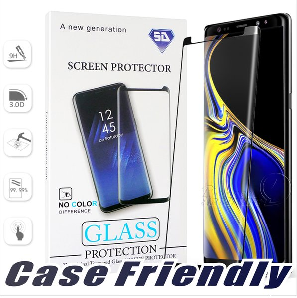 Case Friendly For Samsung Galaxy Note 9 8 S9 S8 Plus S7 S6 Edge Small version Tempered Glass 3D Curve Edge HD Clear Screen Protector Package