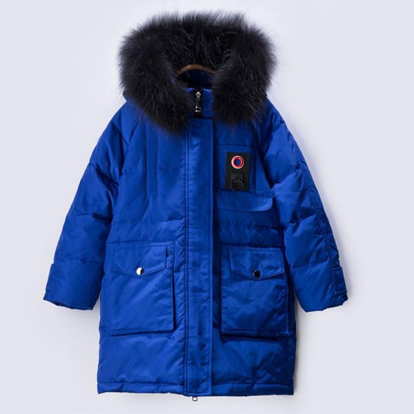 Großhandel 6 Bis 14 Jahre Kinder Teenager Jungen Raccoon Fell Kapuze Lange Daunenjacke Mantel Kinder Jungen Mode Lässig Warm Outwear Kleidung Von