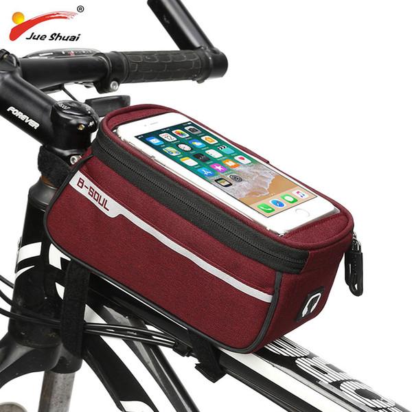 Sacchetto impermeabile del telefono della bici del touch screen del touch screen a 6 pollici borsa anteriore superiore della bici della bici di MTB della struttura anteriore un caso per il telefono Trasporto libero