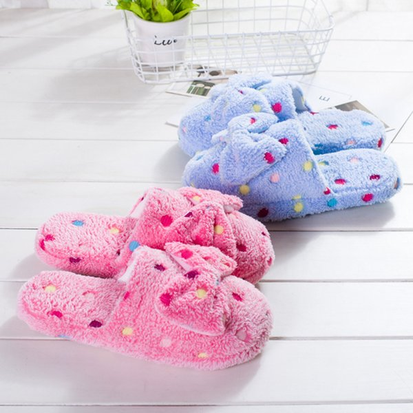 Women Slipper 2018 winter Home Slippers Women Warm Cotton Bow Stone Fabric Slippers Indoor Non-slip Floor Shoes