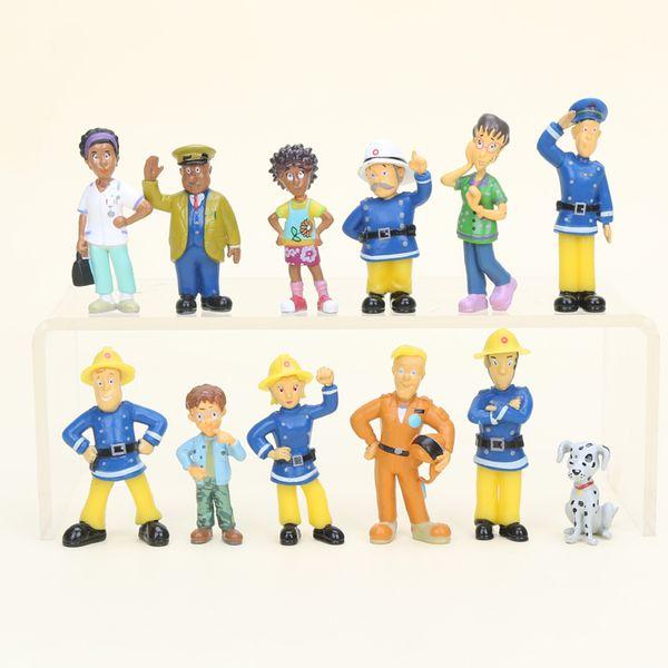 2 .5 -6cm 12pcs /Set Fireman Sam Cute Cartoon Pvc Action Figure Toys Dolls For Kids Christmas Gift