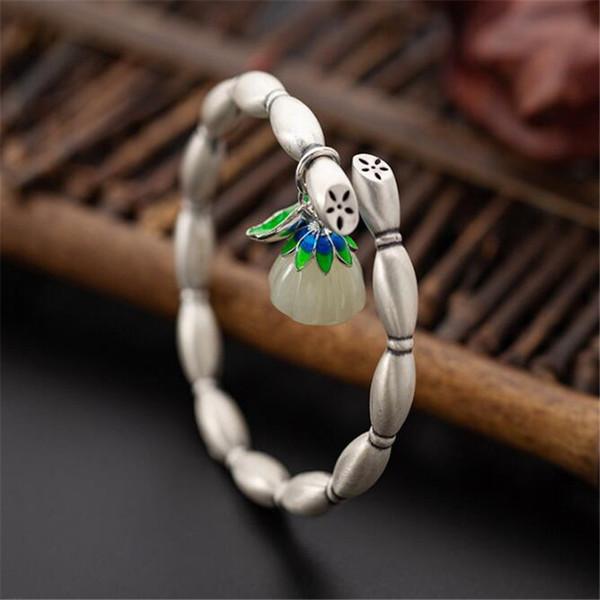 Jsmpfy nuovo gioielli etnici braccialetto di giada 999 argento puro fatto a mano fiore radici forma bracciali regolabili per le donne