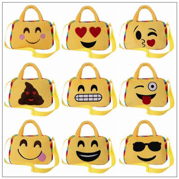 10 Arten Nette Emoji Taschen Cartoon Kinder Tasche Gesichtsausdruck Kind Schulter Schultasche Kindergarten Plüschtier Weihnachtsgeschenk Handtasche CCA8526 50 stücke