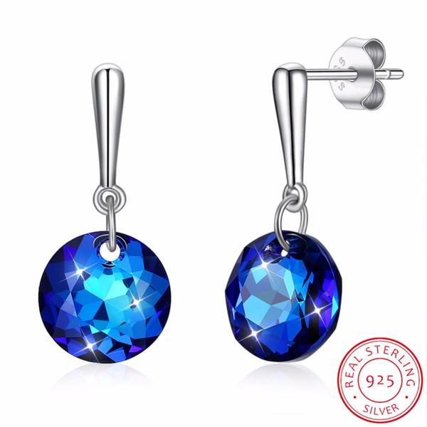 Cristaux De Boucle D'oreille Cristal Bleu Goutte De LEKANI Rond Pour Femmes 925 Sterling Silver Fine Jewelry Meilleur Amis Cadeau