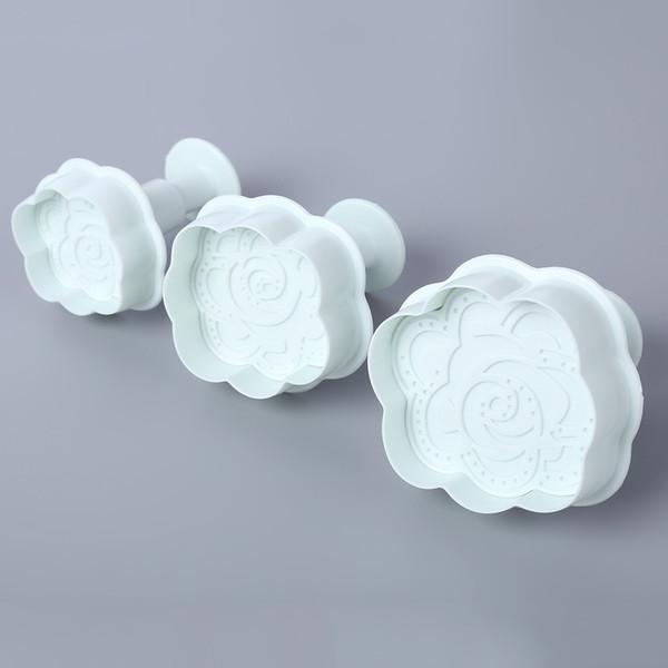 3pcs DIY Rose Fondant Cake Punch Mold Plunger Cutter Beautiful rose flower fondant cake decoration design