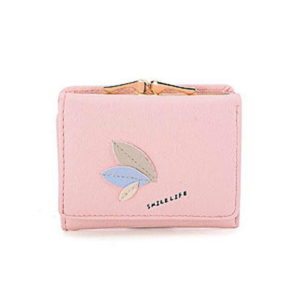 PU Leder Geldbörse Rosa Kartenhalter Mini Mädchen Geldscheinklammer QL Korean Nette Frauen Brieftasche Kurze Einfache Blatt Schnalle Damen Brieftaschen