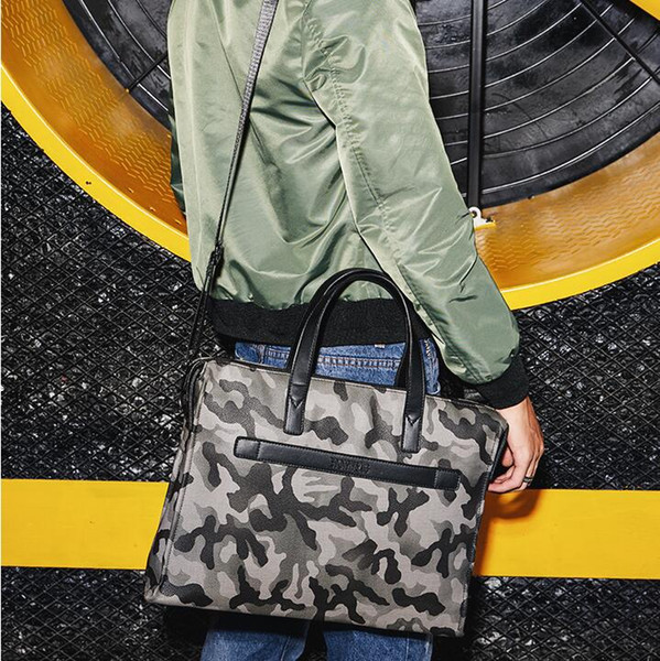 Factory sale brand fashion leather handbag bag briefcase camouflage camouflage personality multi-function Leather Laptop Bag metrosexual man