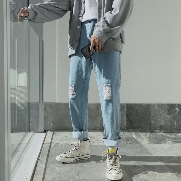 2018 dos homens do Inverno Buracos Baggy Homme Camuflagem Patch Jeans Perna Bottom Edge Hip-hop Calças Casuais Azul Biker Denim Calças M-2XL