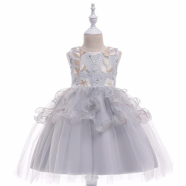 Fashion Sleeveless Flower Girl Dresses Elegant O-neck Little Black Ball Gown Birthday Tank Girl Dress 2018
