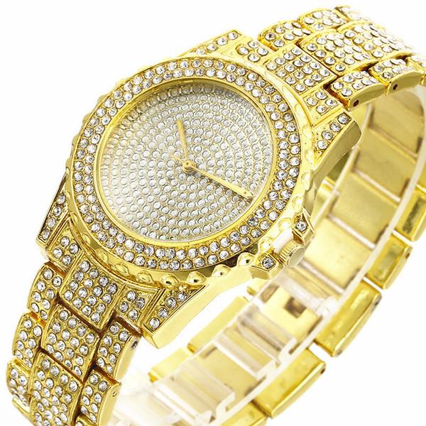 Orologio da polso con strass di diamanti di lusso Moda Uomo Donna Orologio da polso al quarzo in lega di acciaio unisex, vestito casual da donna