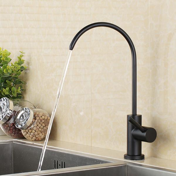 Système de filtration d'eau potable en acier inoxydable noir mat sans plomb avec tube de 1/4 pouce
