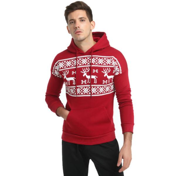 2017 Christmas Hoodies Men Deer Printing Streetwear Hoodies Mens Autumn Winter Fashion Tracksuit Male Pullovers Hoody Male 3XL