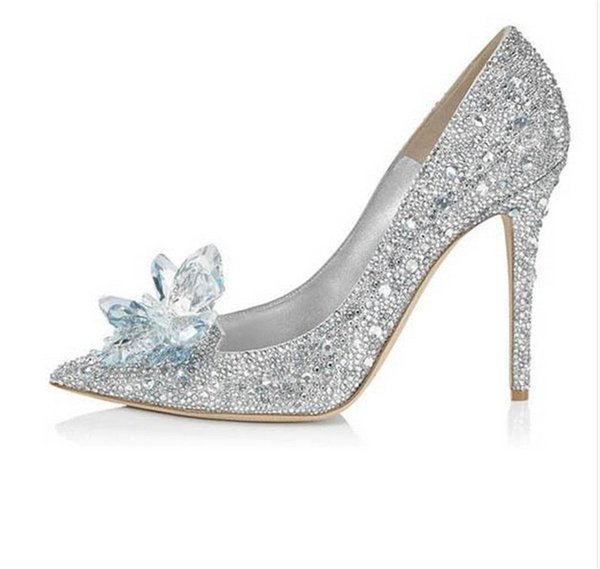 8537e862261 Fashion Crystal Flowers High Heels Pumps Pointed Toe Thin Heel Women Shoes  Diamond Wedding Shoes Spring Sliver Party Sandal Mens Boots Shoe From ...